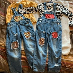 2 sets of fall overalls size m (4t)